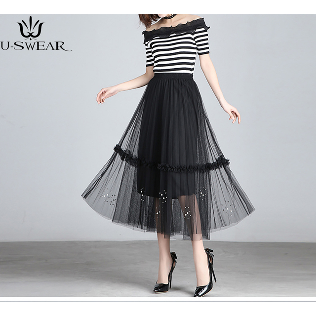 12167ea00 Printing Layer Tulle Skirts Women's Black Gray White Adult Tutu Skirt  Elastic High Waist Lace Hollow Skirt Pleated Midi Skirt