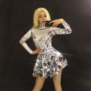 Image 3 - Singer mirror dress stage dance wears Sparkly Silver Sequins Bodysuit Dress Rhinestone Costume