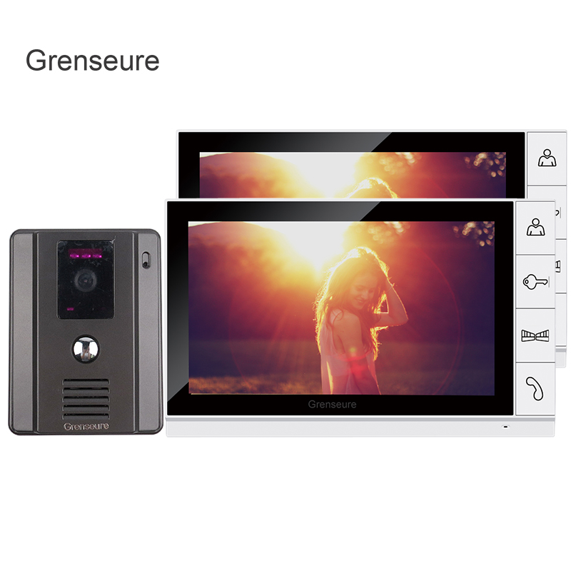 FREE SHIPPING New 9 inch Color TFT LCD Screen Video Door Phone Intercom System + 1 Night Vision Door Camera + 2 Monitor IN STOCK tmezon 4 inch tft color monitor 1200tvl camera video door phone intercom security speaker system waterproof ir night vision 1v1