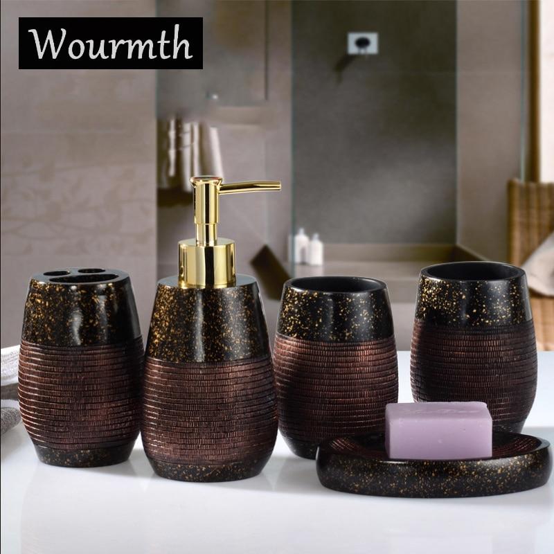 Wourmth 4 pièces élégant porte-savon distributeur shampooing bouteille porte-brosses à dents boîte de rangement organisateur salle de bains accessoires ensemble