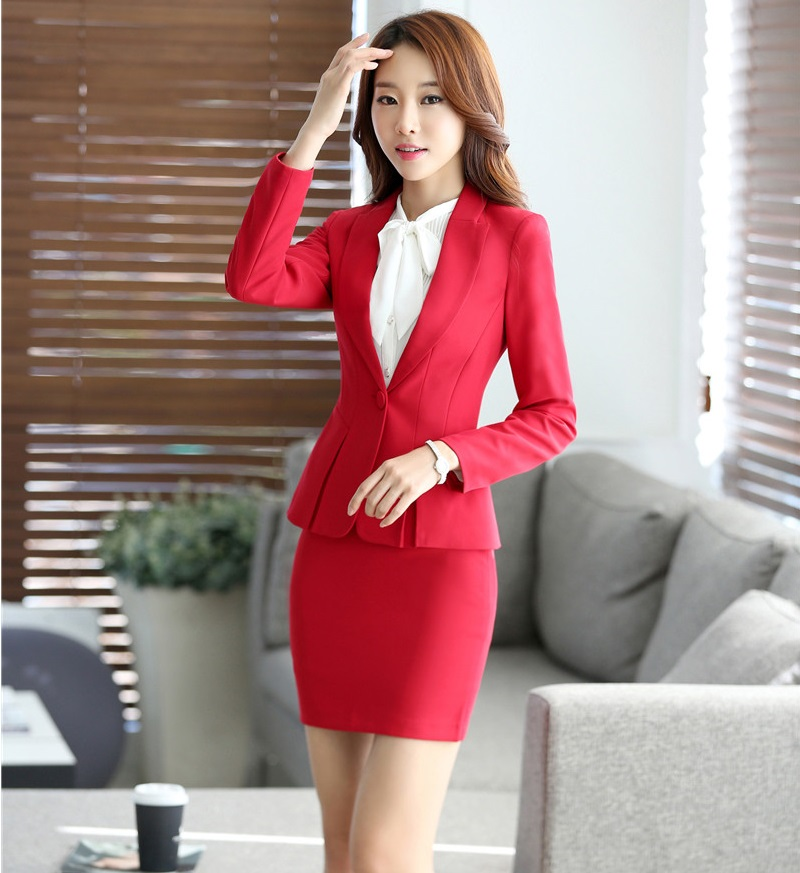 6459c08430bd4 Spring Autumn Professional Work Suits With Jackets And Skirt Formal Business  Women Blazers Set Office Ladies Uniforms Outfits