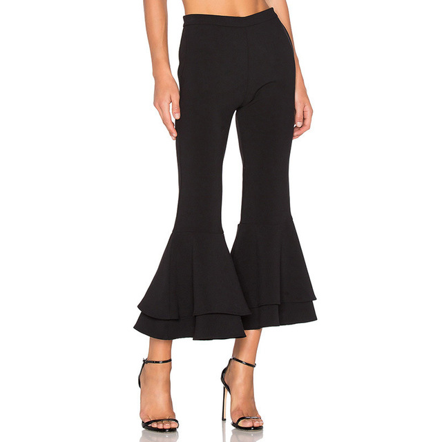 Korea Style Flared Black Wide Leg Pants Work Wear Trousers Capri ...