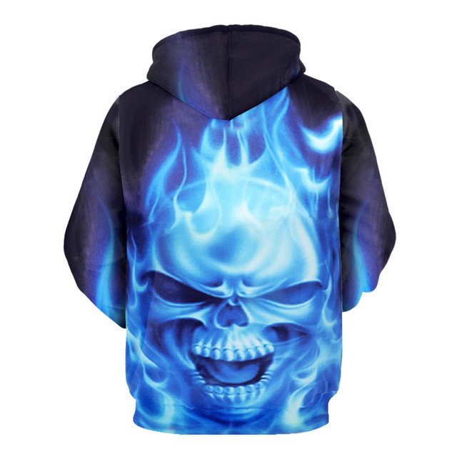 2019 Mens Hoodies 3D Sweatshirt Women Men Ghost Fire Skull Print Hip Hop Fashion Pullover Hoody Sweatshirts Autumn Winter Top 1