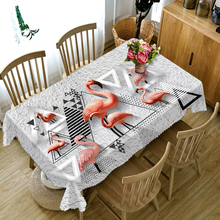 2018 New 3D Tablecloth Red Flamingo Beach Scenery Pattern Dustproof Table cloth Rectangular Round Thicken Polyester Cover