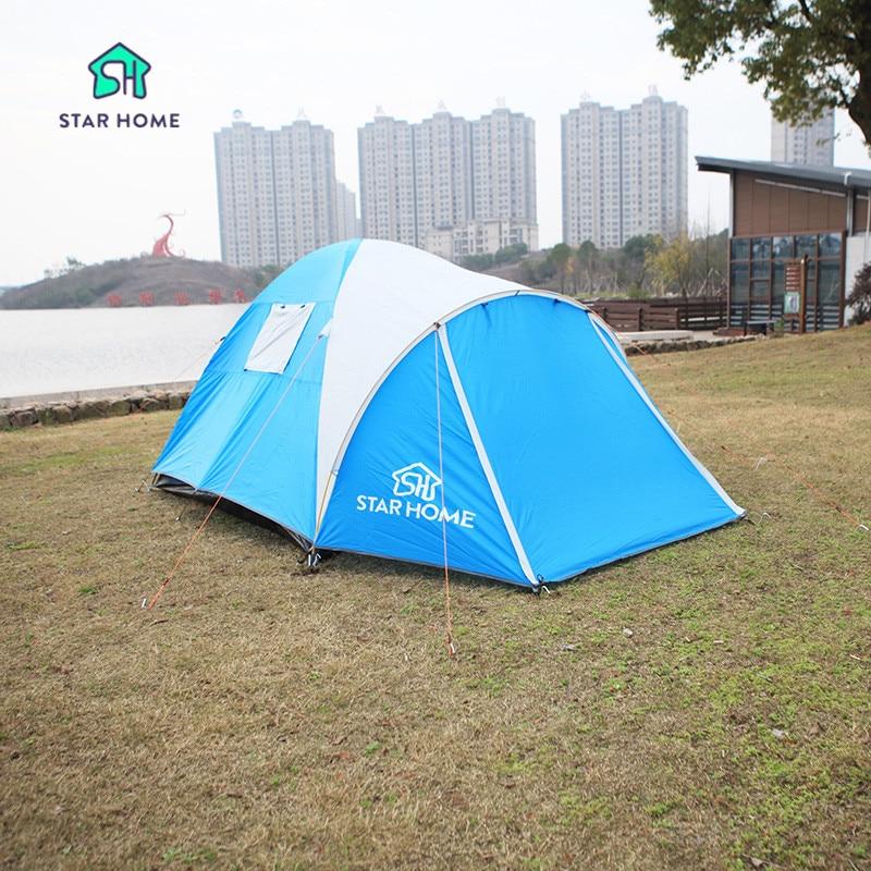 STARHOME Waterproof Tent Outdoor Single Tent 3 Person Blue &Green Three Season Tent Outdoor Hiking Tent starhome 2 3 person camping tent single layer waterproof beach tent large outdoor family tent