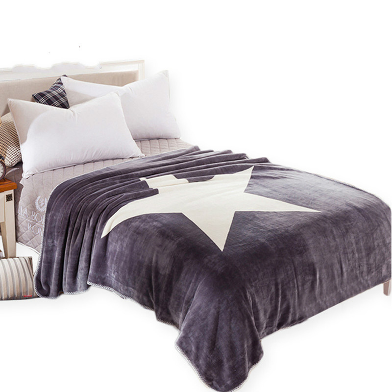 Hot Star Star Blanket Gray and White Throw Blanket on the Bed Sofa Super Soft Bedding 100cmx150cm 150cmx200cm Size