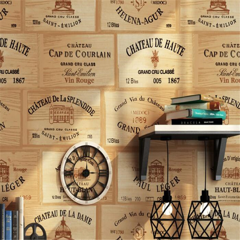 beibehang Imitation wood grain wine label wallpaper box lattice retro bar cafe background wall living room wallpaper for walls beibehang colored wooden striped wallpaper american retro mediterranean wood bedroom living room study room cafe 3d wallpaper