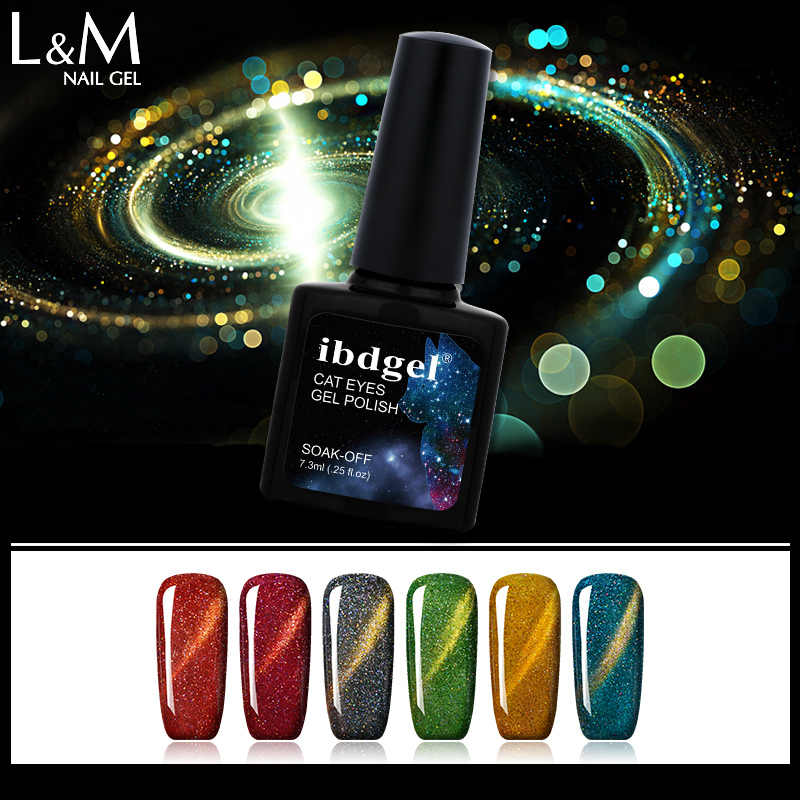 3 Botol Ibdgel Merek Magneto Rainbow Cat Eye Gel Polish untuk Kuku Bersinar 6 Warna Uv Gel Kuku