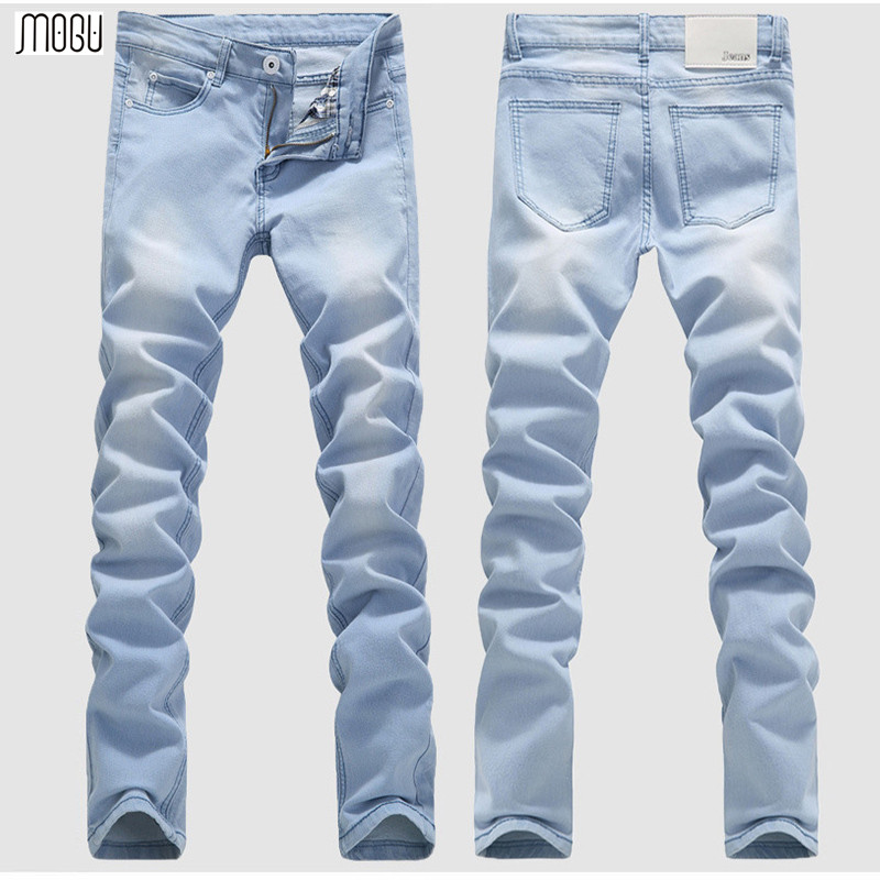 MOGU 2017 Fashion Jeans Men Denim Pants For Men Bleach Water Wash Casual Stretch Denim Trousers High Quality Asian Size