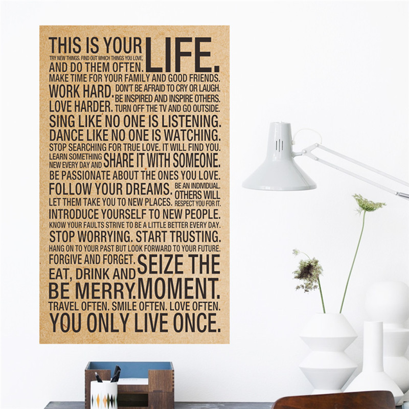 HOT world popular quote This Is Your Life Vintage painting <font><b>inspiration</b></font> words kraft paper posters wall stickers <font><b>home</b></font> <font><b>decor</b></font> art