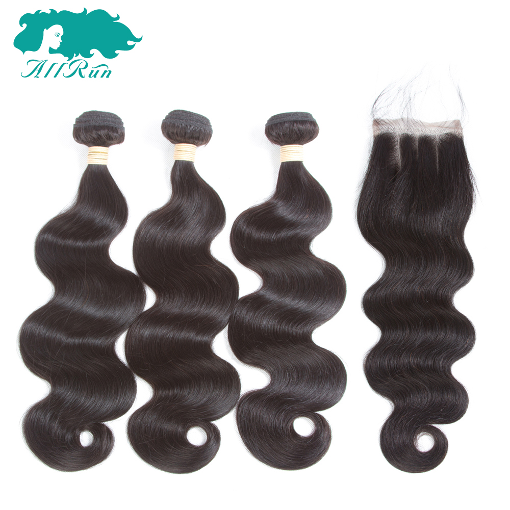 Allrun Pre-Colored Hair Burmese Body Wave with 4*4 Swiss Lace Closure No Tangle 2/3pcs N ...