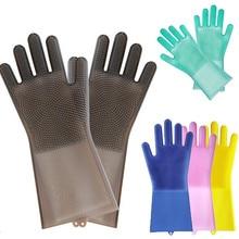 Волшебный многоразовый силикон перчатки Чистящая Щетка скраб перчатки термостойкие для посуды мойка Чистка инструменты для ухода за волосами