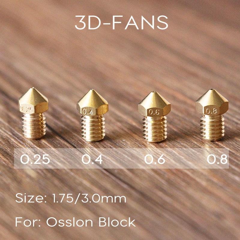 1Pcs Ultimaker 2 UM2 + Extended E3D Heater Hotend Olsson Block Nozzle 0.25 0.4 0.6 0.8mm For 3.0mm-1