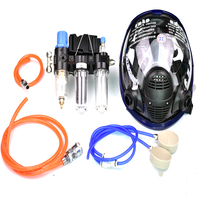 6IN1 Function Supplied Air Fed Chemical Respirators For Painting Gas Mask Dust Filter Match Air Compressor