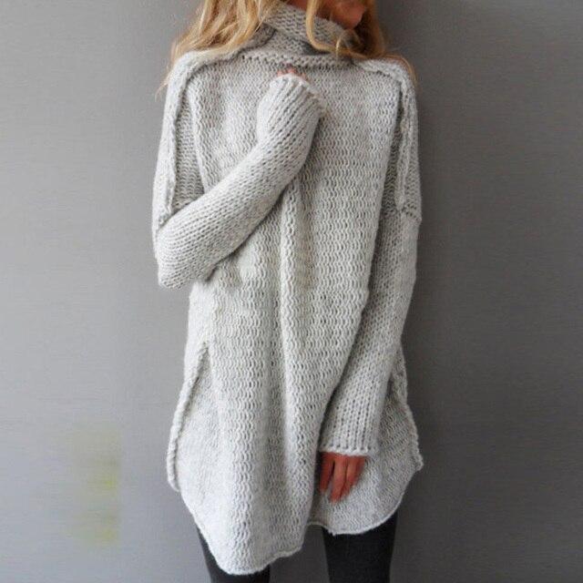 New Autumn Winter Fashion Women Long Sweater Turtleneck Oversize ...