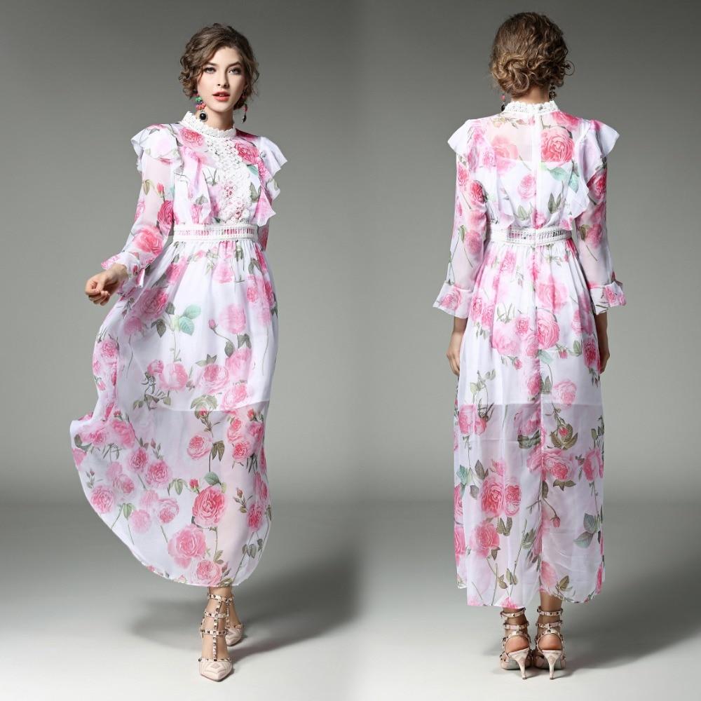 Spring Summer Runway Designer Woman Dress White Silk Dress Pink Red