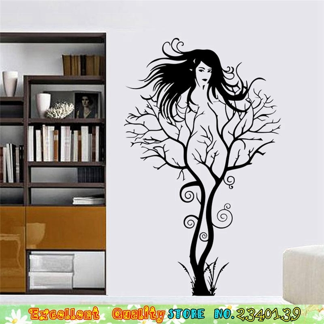 Sexy Naked Girl Tree Wall Stickers Modern Artistic Wall Art Stickers DIY  Home Living Room Bedroom