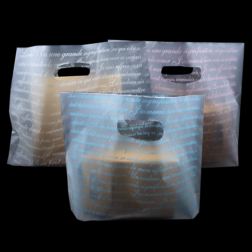 150Pcs Matte Clear Printed Plastic Packaging Bag Shopping Bags With Handle Punching Hole Gift Clothes Merchandise 3 Color