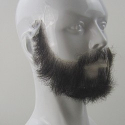 FXVIC 2019 Top Quality Fake Beards and Mustaches. Realistic costume Jet black beards 100% human hair free shipping