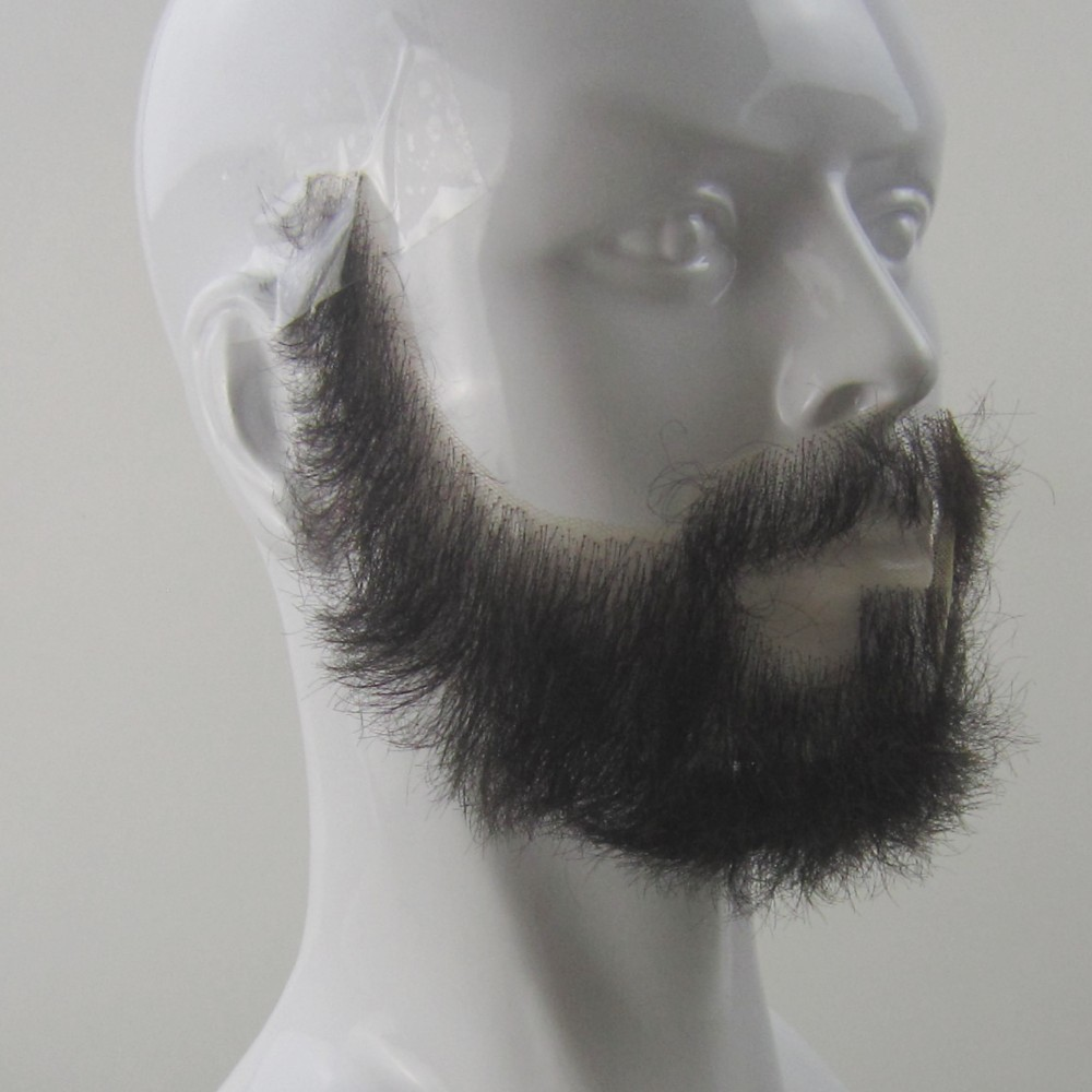 FXVIC 2019 Top Quality Fake Beards and Mustaches. Realistic costume Jet black beards 100% human hair free shipping image