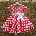 2016 Free Shipping Girls Bowknot Wave Point Princess Dresses Children Fashion Clothing Short Sleeve Kids Ball Gown