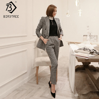 Spring Women Solid Pants Blazers Suit Long Sleeve Notched Double Breasted Top Pockets Elastic Waist Pants Office Lady S91824J