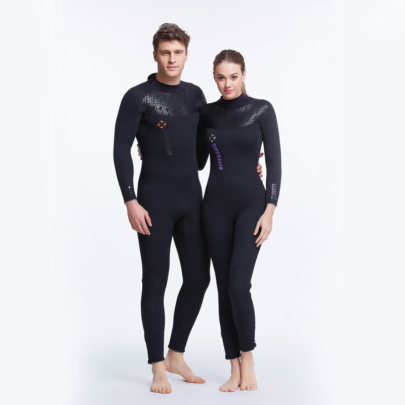 DIVE&SAIL Men Women 5mm Neoprene One Piece Wetsuit Watersports Beach Surfing Diving Suit full body neoprene rashguard