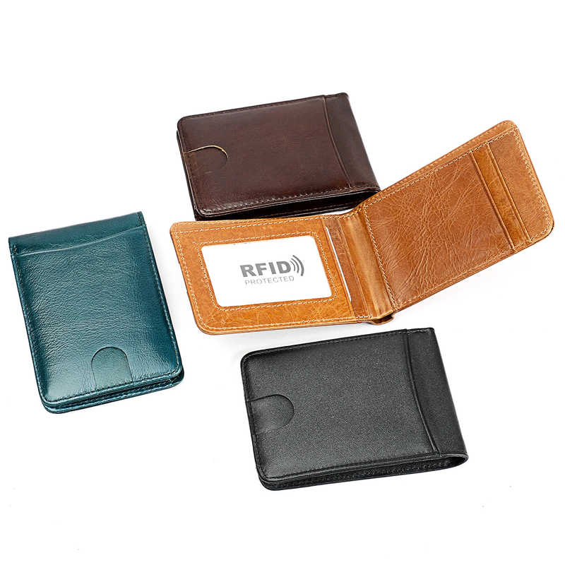 RFID Blocking <font><b>Genuine</b></font> <font><b>Leather</b></font> <font><b>Short</b></font> <font><b>Man</b></font> <font><b>Wallet</b></font> Mini Women Money Bag Cowhide <font><b>Men's</b></font> Credit Card Holder Small Purse For Male image