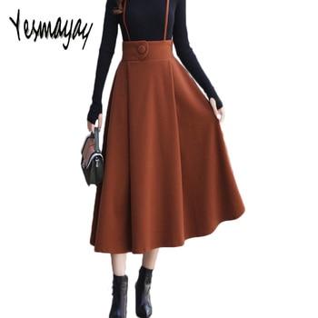 Maxi Long Skirts Womens Maxi Skirt Autumn Winter for Women Wool Thick High Waist A-line Overall Skirt Jupe Longue Taille Haute gonna lunga con bretelle