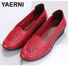YAERNI Women Shoes 2019spring fashion slip on comfortable walking shoes Women's Footwear Flat Shoes Plus Size Mother ShoesE1022
