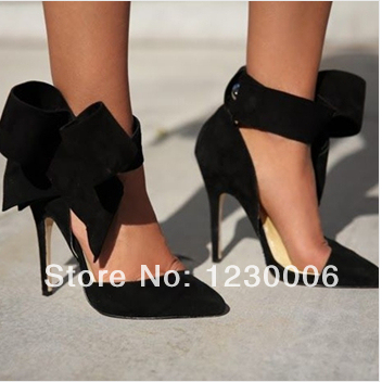 931120a8e20 New fashion women bow tie pump pointed toe high heel dress shoes red pink  blue black suede leather sandals