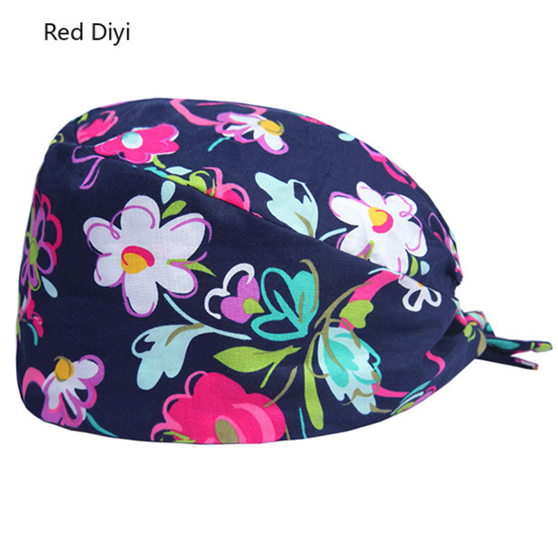 Floral Surgical Scrub Hats And Medical Cap With Fabric Ties And An Elasticized Back Section Operating Room Surgery Work Hat