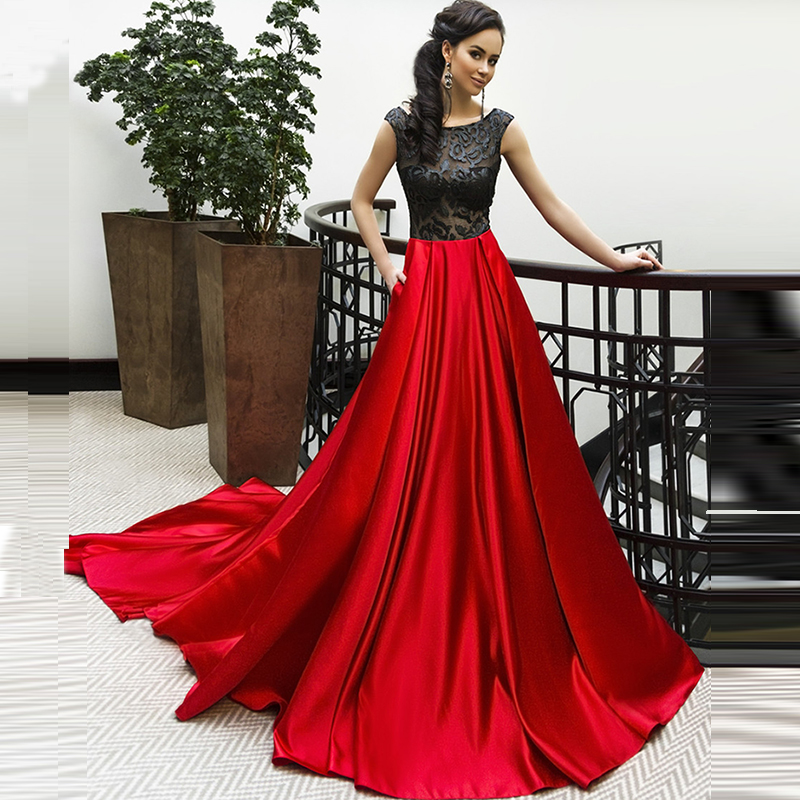 23eb69d7d45b Stunning Red and Black Lace Satin Evening Dress Long Backless Sexy Prom  Dresses with Side Pockets Vestido Curto Vestidos de Gala