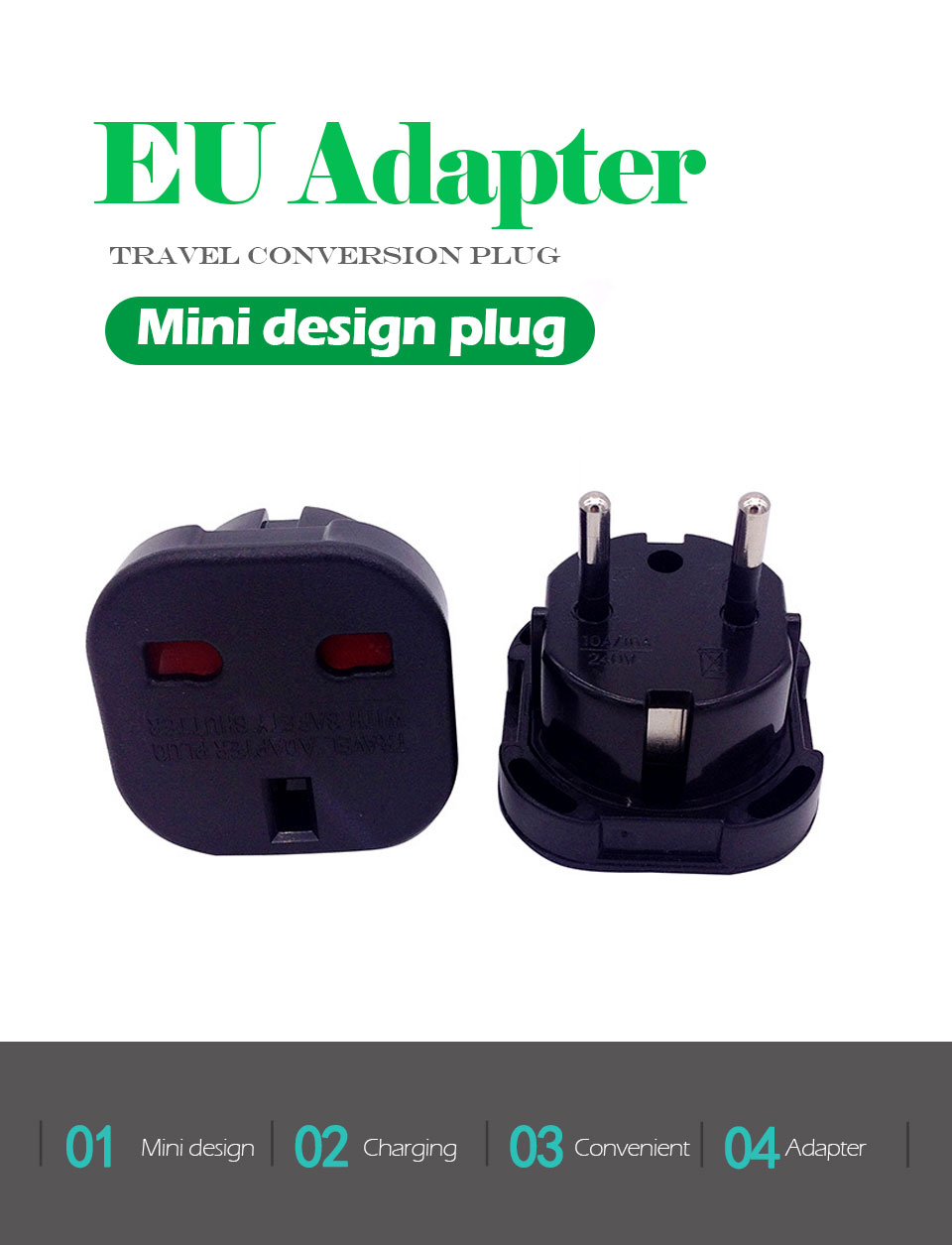 1PC UK To EU Plug 2 Round Pin Socket Travel Wall AC Power plug Charger Outlet Adapter Converter Italy Switzerland Travel Adaptor (1)