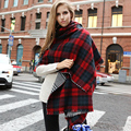 2016 Nueva Moda caliente Del Invierno para mujer de la Tela Escocesa Marca España Desigual bufanda largo Grande del mantón de acrílico