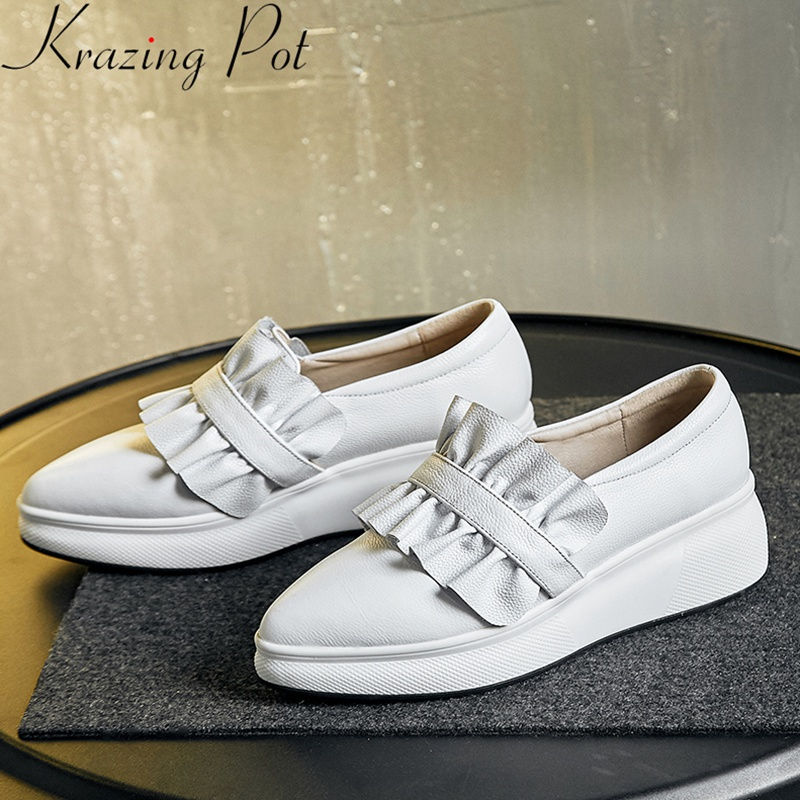 Krazing Pot superstar genuine leather slip on thick bottom platform loafers casual shoes pleated women vulcanized