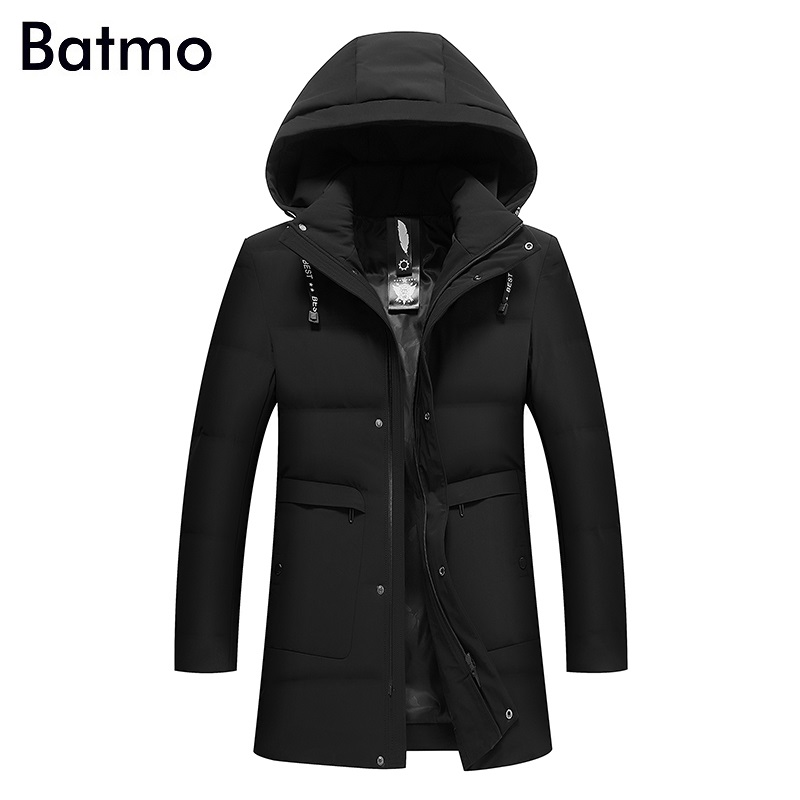 Batmo 2017 new arrival winter high quality keep warm 80% white duck down hooded long jacket men,winter mens thick coat 8821
