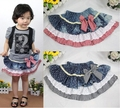 Fashion Spring Summer Child Short Skirt Girl Cute Denim Dot Bowknot Skirts Baby Girl Cotton Mini Skirt Free Shipping Wholesale