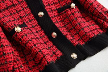 Spring Autumn vintage Plaid Soft Wool Knit Jackets Coat Women V-Neck Oversize Korean Sweater Cardigan Loose Outwear Tops Female 5