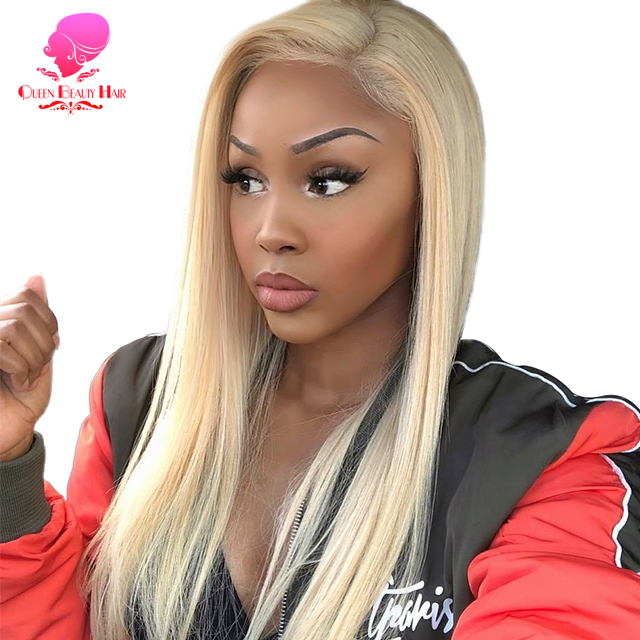 QUEEN BEAUTY Brazilian Lace Front Wig 613 Blonde Long Straight Remy Human Lace Wigs with Baby Hair 150% Density 8   26 inch