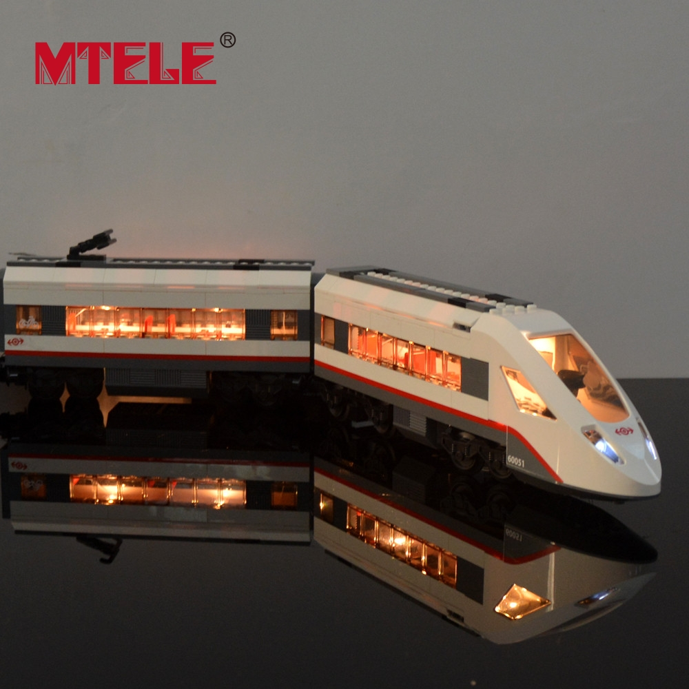 MTELE Brand New Arrival Led Light Building Blocks Set For Trains High-speed Passenger Model Toy Compatible with lego 60051 lightaling led light set compatible with brand camping van 10220 building model creator decorate kit blocks toys