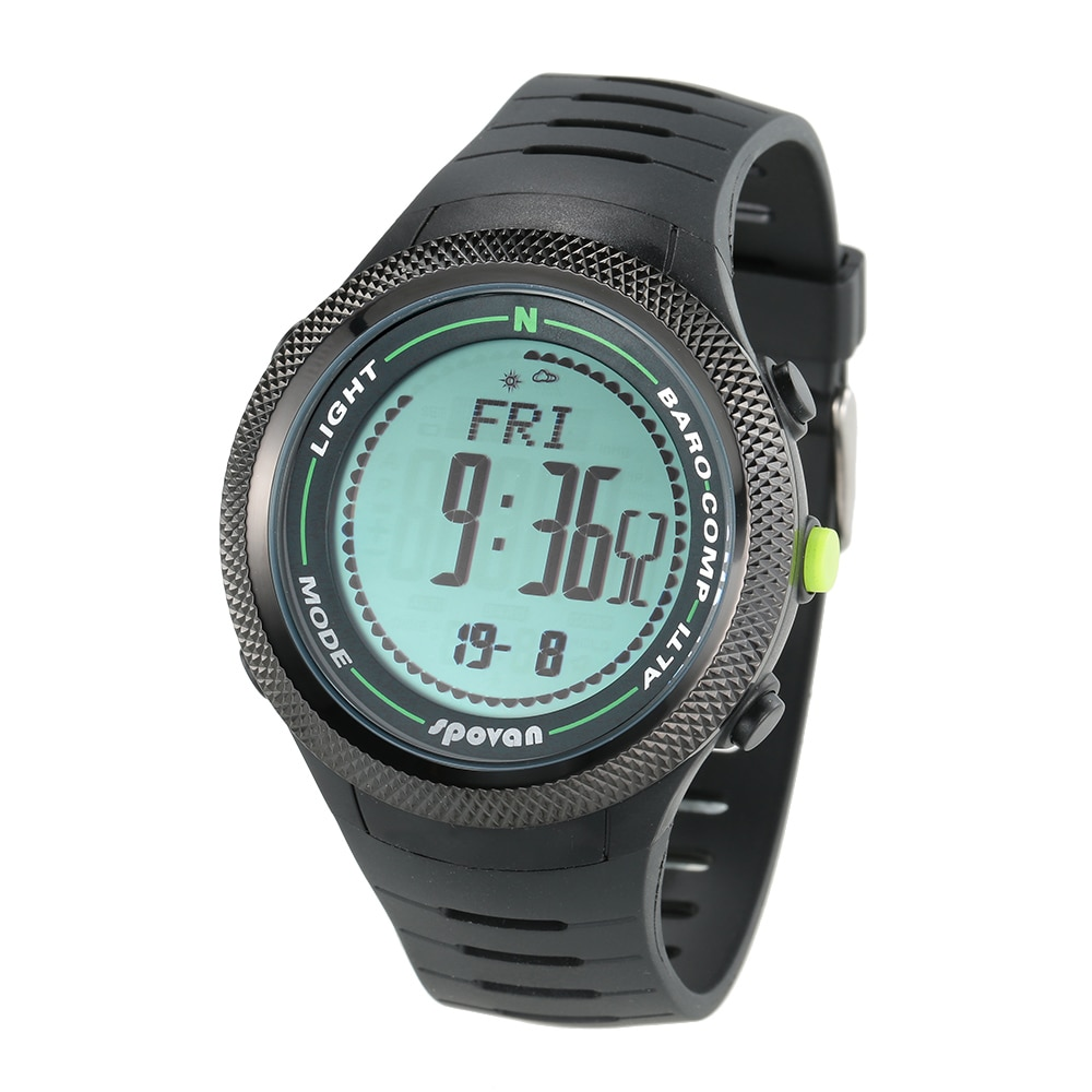 SPOVAN 5ATM boussole montre Sports de plein air altimètre baromètre thermomètre numérique boussole prévision météo podomètre Relogio