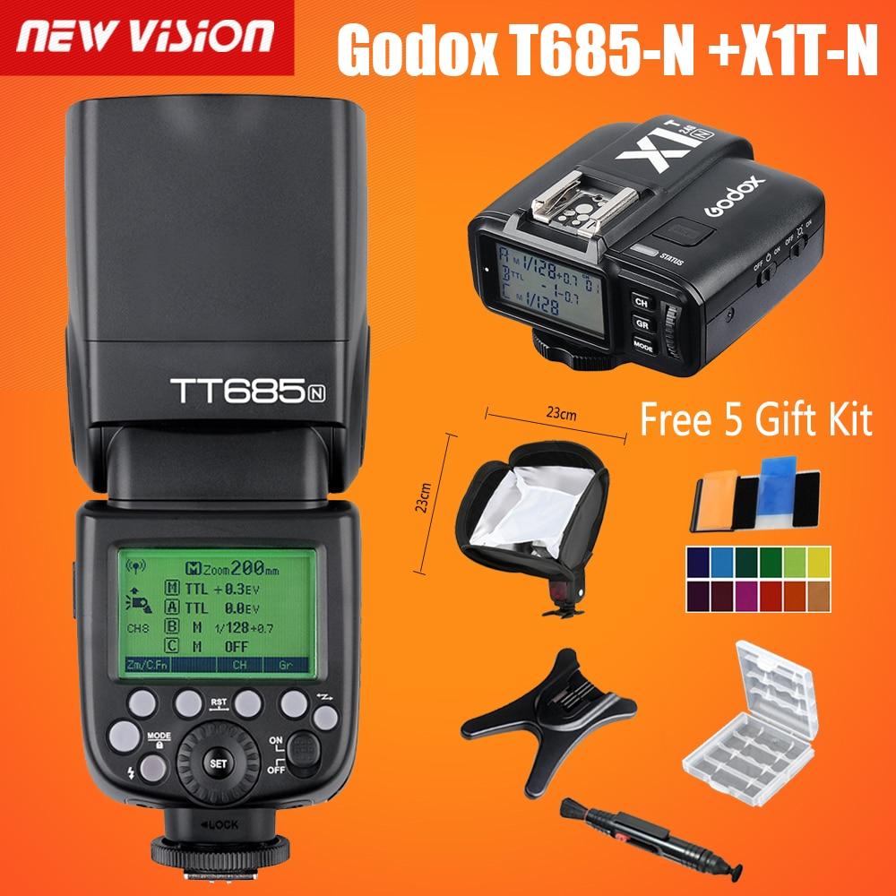 Prix pour Godox TT685N 2.4G HSS je-TTL GN60 Sans Fil Flash + X1N TTL Trigger pour Nikon D800 D700 D7100 D7000 D5200 D5100 D70S D810 D90
