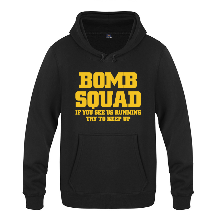 BOMB SQUAD Personality Creative Sweatshirts Men 2018 Mens Hooded Fleece Pullover Hoodies