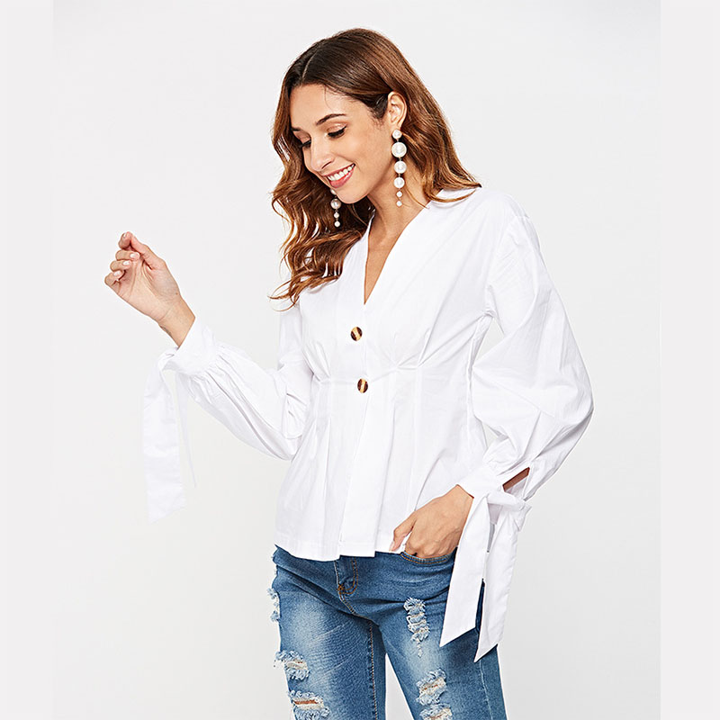 50cd870e61938 SUNNOW V Neck White Shirt for Women Bow Long Sleeve Casual Streetwear Women  Blouse Elegant Cotton