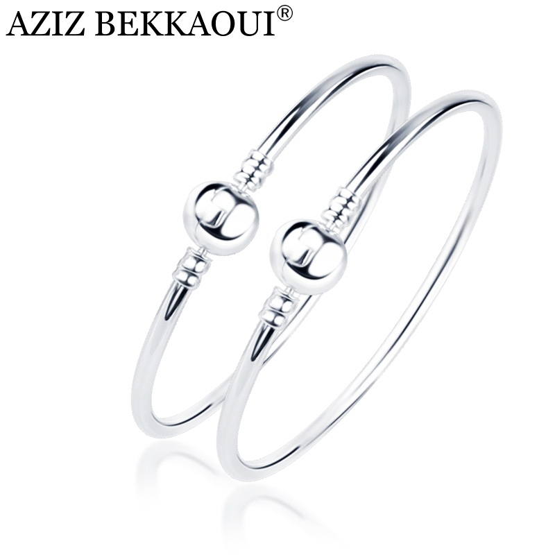 New Round Silver Bangles With Ball Clasp Basic Snake Chain Clip Suitable Bracelet Bangles For Women Men Bead Charm DIY Jewelry