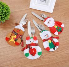 Christmas Bag Table Cutlery Holder Xmas Decoration for Home Snowman Santa Claus Knife Fork Holder New Year Gift