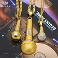Men's 3 Design  Gold Plated Microphone Iced Out Music Singer Pendant with Miami Cuban Chain Necklace Hip Hop Jewelry