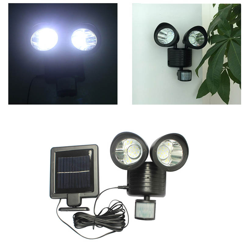 Searchlight Dual Security Detector Solar Spot Light Motion Sensor Outdoor 22 LED Floodli ...