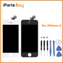 Ipartsbuy para iphone 5 smartphone lcd + touch pad + repair tool set + pantalla lcd digitalizador asamblea